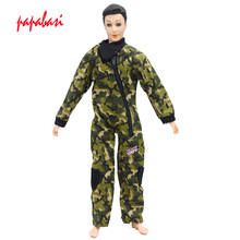 1Set Green Doll Prince Clothes Partisan Combat Uniform Outfit For Barbie Boy Male Ken Doll For Lanard 1/6 Soldier Clothes G025(China)