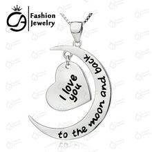 Fashion Jewelry I Love You To The Moon and Back Silver Plated Heart Personalized Pendant Necklace Valentine's Day Gift #LN903