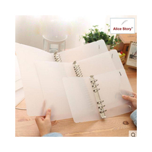 Plastic Clip file folder transparent color plastic notebook journal loose leaf ring binder diary planner cover A5 A6 A7 school