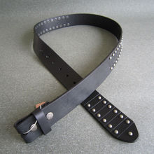 New Jeansfriend Black Punk Nails Studded Genuine Leather Belt Solid Real Leather Belt Snap On Belt Gurtel BELT1-006BK(China)