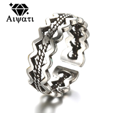Thailand Silver Jewelry Rings Vintage Twist of Dough 925 Silver Rings For Women