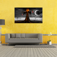 2016 Halloween Poster Witch's Broom Modern Cartoon Art Picture For Kid Room Wall Silk Poster 20x35inch