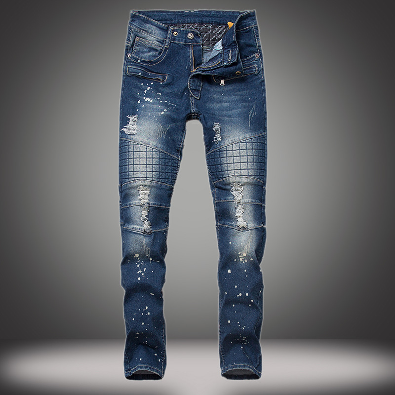 High Quality Mens Fashion Designer Distressed Ripped Jeans For Men Straight Slim Fit Hiphop Cotton Jeans Homme 551Одежда и ак�е��уары<br><br><br>Aliexpress