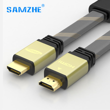 SAMZHE flat HDMI Cable HDMI to HDMI Braided Zinc Alloy video Cable 4K 3D 2m 3m 5m for PS4 Projector HD LCD Apple TV Computer(China)