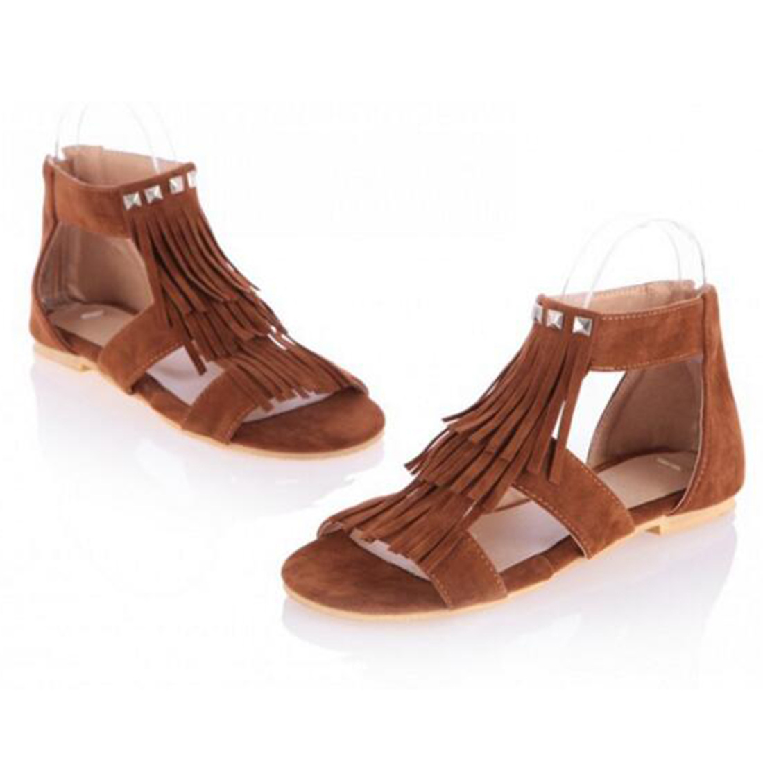 Summer Shoe women Gladiator Sandals ladies fringe flip Sandals Zipper Sandals Punk Flat Suede Leather Fringe Sandals Shoes<br>
