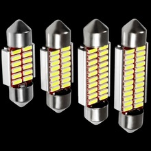 4pcs High Quality 31mm 36mm 39mm 41mm C5W C10W 4014 LED CANBUS Car Festoon Lights Auto Interior Dome Lamp Reading Bulb White 12V