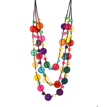 bohemia ethnic multicolors round coconut shell knitted necklace