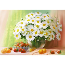 New White Chrysanthemum & Fruit Full Mosaic Picture Pattern Cross Stitch Rhinestone Diy Diamond Paintings Embroidery Cross HH3