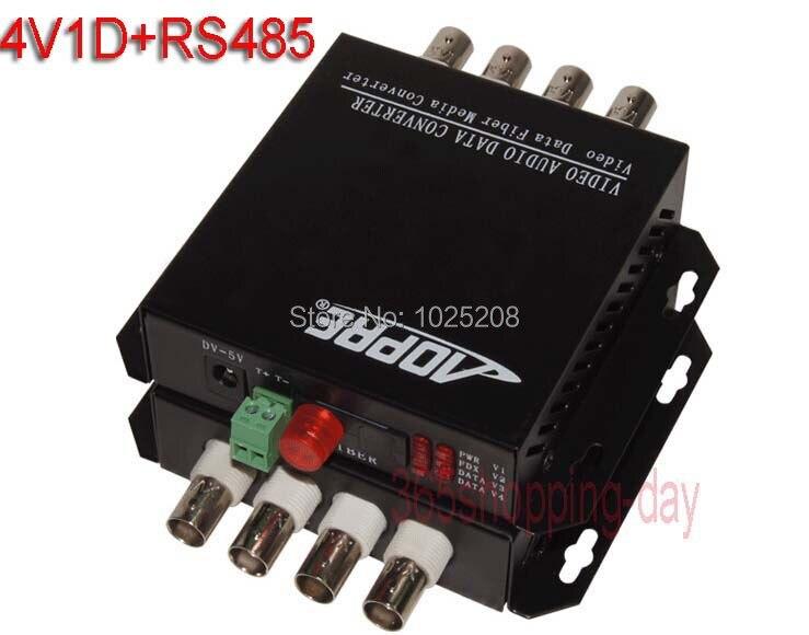 1pair 4 channel video data fiber optic media converter,1v1d,RS485,FC/Single mode