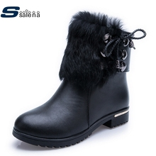 Fashion  Snow Boots Women Leather Ankle Boots New Winter Classic Motorcycle Boots High Top Platforms Shoes Size 35-40 #C344