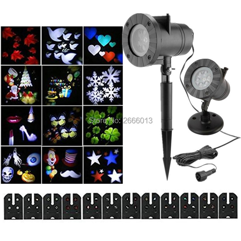 12 Types Christmas Laser Snowflake Projector Outdoor LED Lamp Waterproof Disco Lights Home Garden Star Light Indoor Decoration<br>