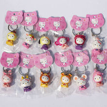 12pcs/lot Cute Hello Kitty Action Figure Toys 5cm Chinese Zodiac Keychain Great Gift For Christmas(China)