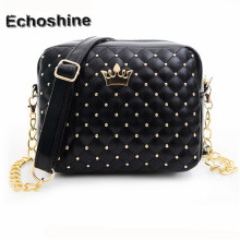 Best Deal New fashion  Women Messenger Bags Rivet Chain Shoulder Bag Zipper Crossbody Bag for Girl gift free shipping &wholesale