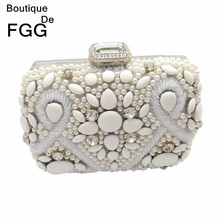 Famous Brand Bridal Wedding Clutch White Beaded Crystal Bag For Women Party Evening Clutches Handbags Shoulder Crossbody Bag