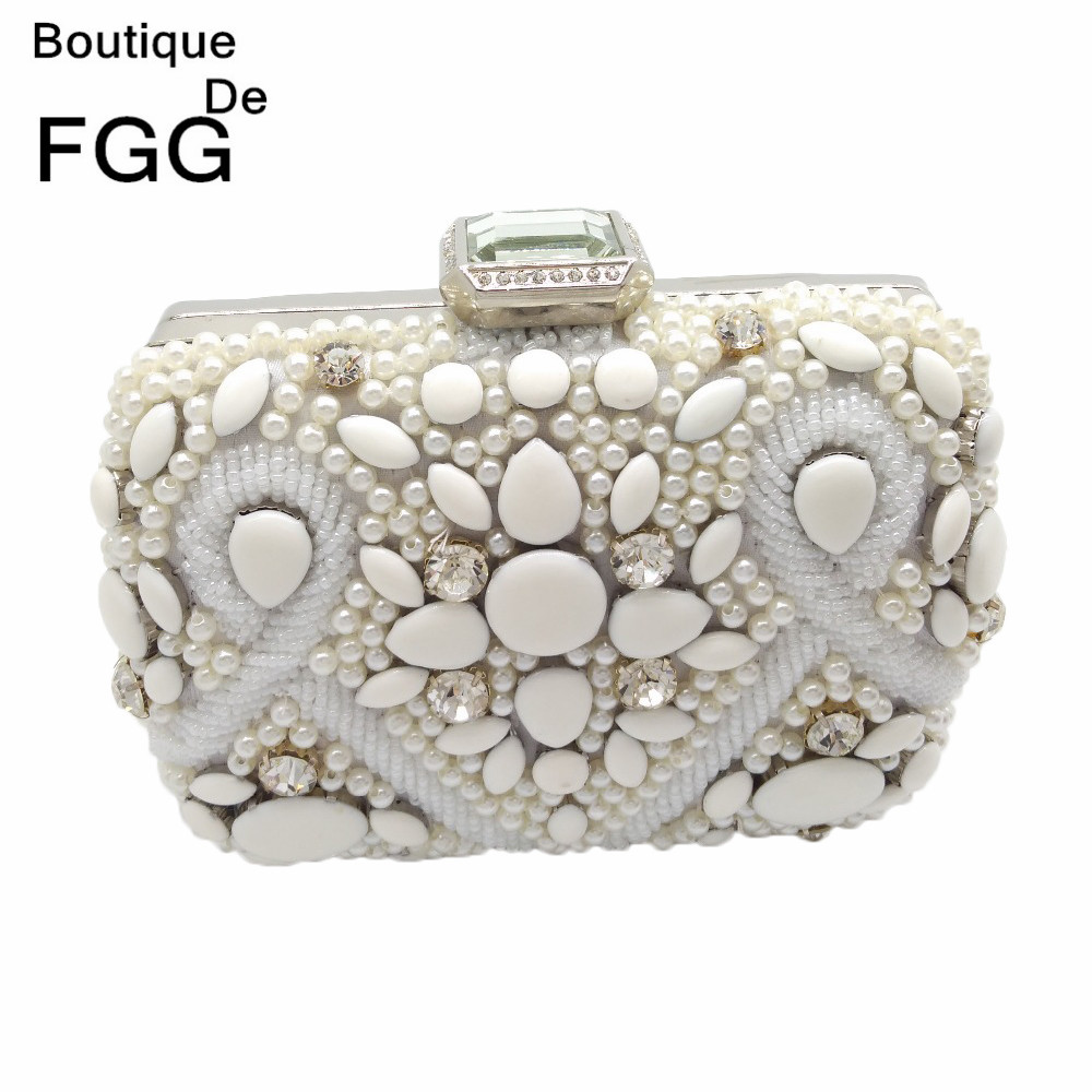Famous Brand Bridal Wedding Clutch White Beaded Crystal Bag For Women Party Evening Clutches Handbags Shoulder Crossbody Bag<br><br>Aliexpress