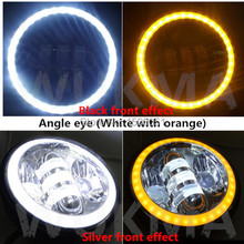 "5.75"" LED Headligts High & Low beam White DRL Angel Eye And Orange indicator Ring with CAN Bus adapter wiring adapter For Harley"