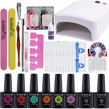 Nail Extension Set Kit Nail Gel Manicure Set 36W UV Lamp Nail Art Set Kits 6 Gel Polish UV Gel Primer Top and Base(China)