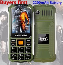VKWorld Stone V3S 2.4 inch Dropproof Dustproof Mobile Phone Dual LED Light FM Dual SIM Cell Phone can add Russian Keyboard(China)