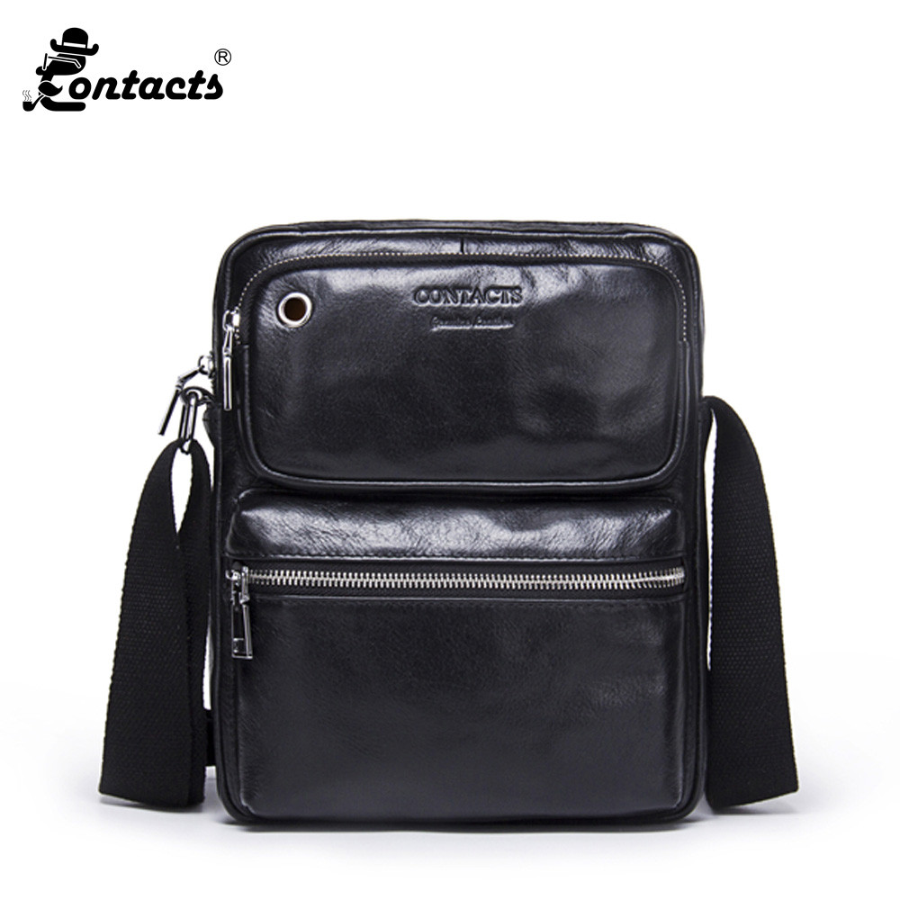 CONTACTS MB081 2017 New Arrival Cowhide Mens Cross Body Bag Shoulder Bags Fashion Designed Mens handbags Bussiness Bags<br>