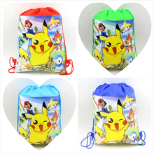 10pcs\lot Birthday Party Pikachu Drawstring Gifts Bags Baby Shower Sling Bag Kids Favors Pokemon Go Backpack Decoration Supplies