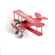 Metal Airplane Toys for The Red Baron Biplane Fighter Model World War I Legend Fighter Handmade Creative Desktop Decorations(China)