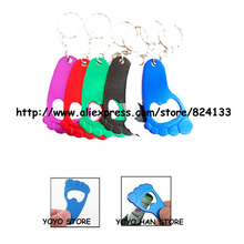 5.8cm small foot shaped beer/wine opener keychain,anodized aluminum bottle opener keyrings,mixed colors 300pcs/lot,free shipping(China)