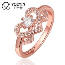 Rose gold color Engagement rings for lady CZ stone rings aneis de ouro Free Shipping jewellery Gift for Anniversary(China)