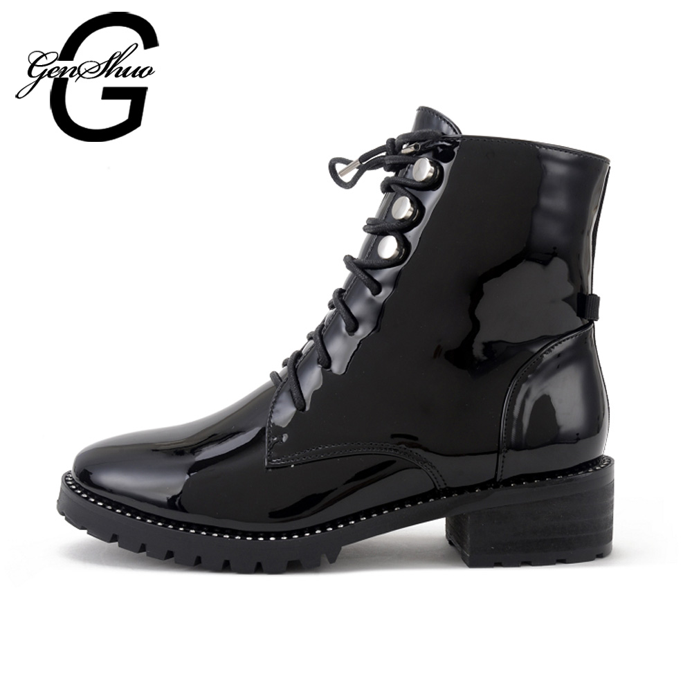 GENSHUO New 2018 Autumn Fashion Patent Leather Boots Women Square Heels Ankle Boots Casual Round Toe Cross-tied Boots Size 35-40<br>