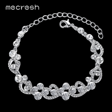 Buy Mecresh Heart-Shape Charm Bracelets Women Silver Color Crystal African Girls Pulseiras 2017 Wedding Christmas Jewelry MSL285 for $4.19 in AliExpress store