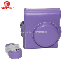 New Camera Leather Case Bag in Purple Color with Shoulder Strap for Fujifilm Instax Mini 8/8S, free shipping