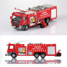 1 Pcs Alloy Engineering Fire Engine Vehicle Model 1:50 Water Fire Truck Ladder Support Original Die Cast Model Toy For Boys Gift(China)