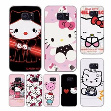 lovely Hello Kitty design transparent clear hard case cover for Samsung Galaxy S7 S8 Plus S6 S7 edge S5 S4 mini