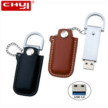 Leather USB Flash Drive 3.0 64GB Key Chain USB Stick 16GB Pen Drive 8GB 32GB Pendrive High Speed USB 3.0 Flash Drive for Gift(China)