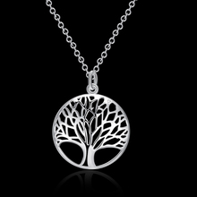 Fashion Jewelry Vintage Hollow Tree Life Pendants Silver Plated Chain Necklaces For Women 88 KQS(China)