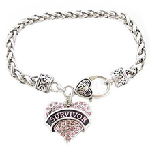 Survivor Breast Cancer Pink Ribbon Crystal Heart Silver Bracelet Jewelry