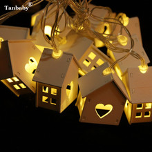 Tanbaby Wooden House LED String Lights Wood LOVE Heart Party Decoration Star Fairy String Lighting For Indoor Bedroom Livingroom