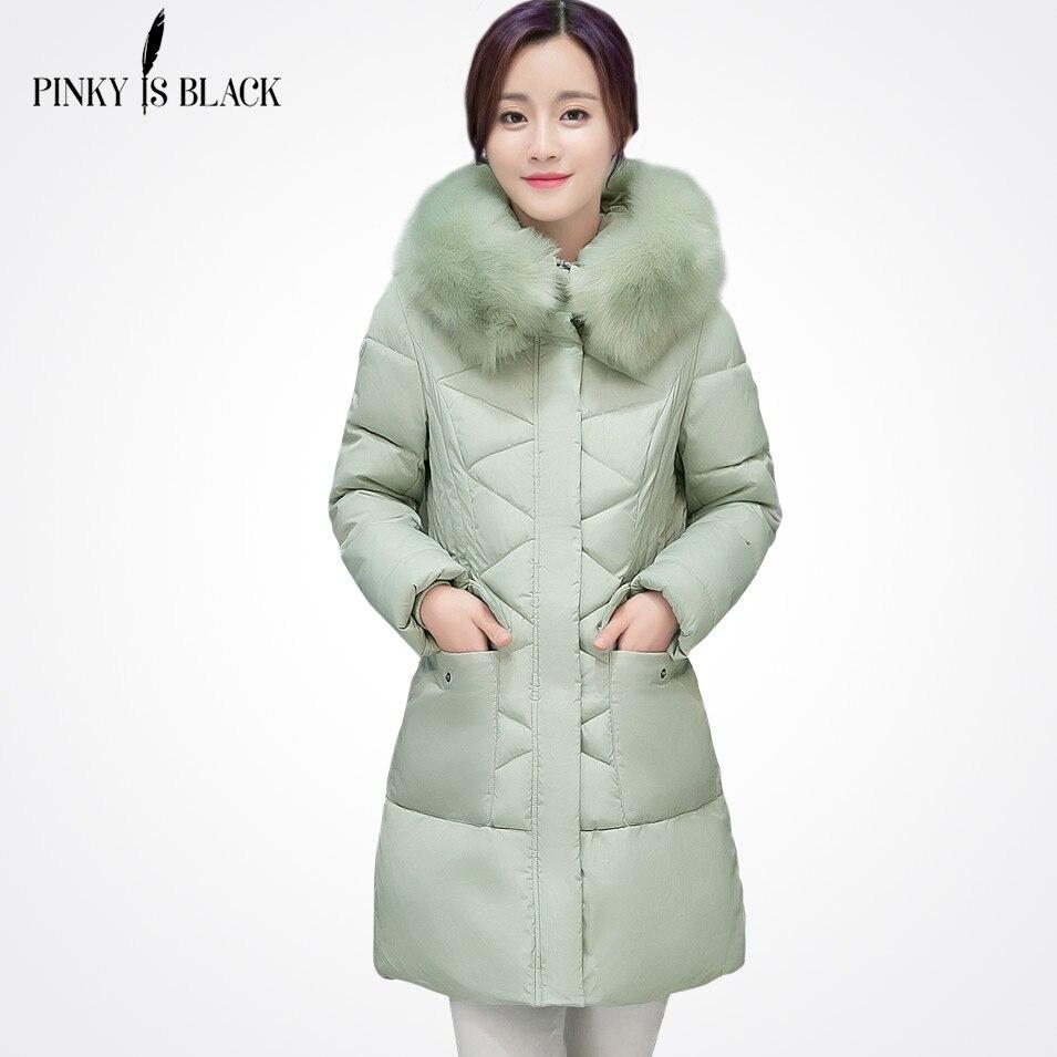 Pinky Is Black 2017 Long Parkas Women Winter Jacket And Coat Big Fur Collar Plus Size Thick Cotton Padded Hooded Jacket Female Îäåæäà è àêñåññóàðû<br><br>