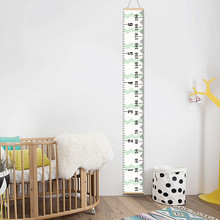 Personalized Removable Canvas Growth Chart Kid Height Chart Wooden Wall Hanging Kids Room Wall Decorative Measure Height Sticker(China)