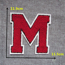A red capital of M Sew-on embroidered towel fabric patches stripes For Clothes pants hat DIY Accessories Sew On Applique C363
