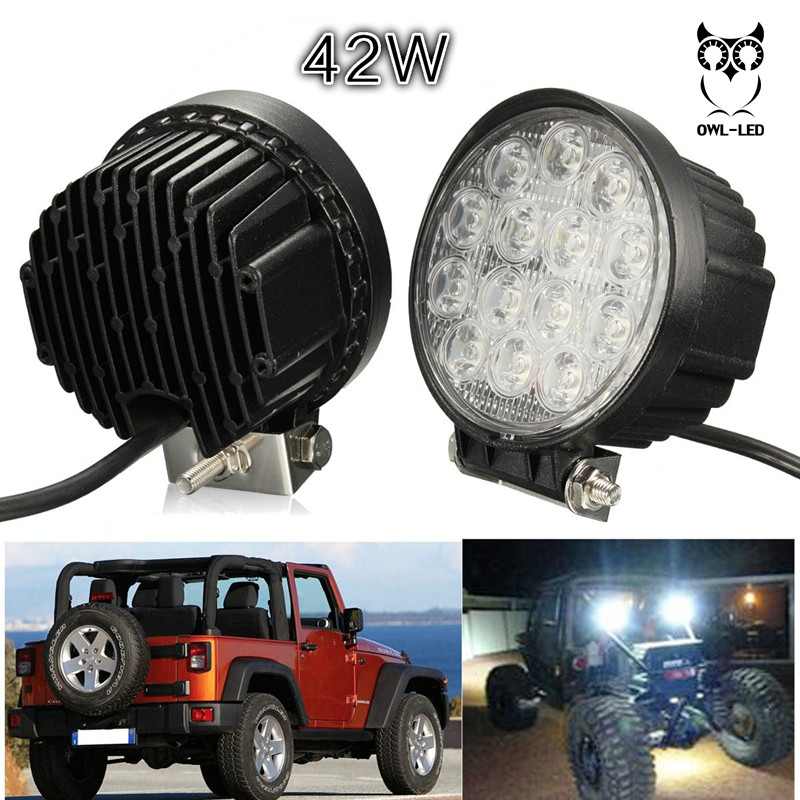 New big sale led working light for fog Driving offroad boat lamp 4 x 4 ATV SUV Round/Spot, 42w<br><br>Aliexpress
