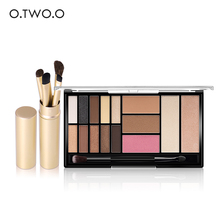 O.TWO.O New Arrival Palette Eyeshadow Highlighter Glitter and Matte Smoky Eyeshadow Palette 15 Shades +Eye Brushes Set(China)