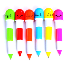 2015 New 6PCS Cute Smiling Face Pill Ball Point Pen Pencils Telescopic Vitamin Capsule Ballpen for School Use 1NWK 5VW8 8CKZ