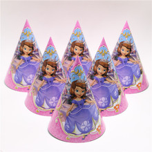 12pcs/lot High Quality Birthday party supplier Cheering Toys Cute sophia princess theme party hat/cap cartoon paper cap(China)