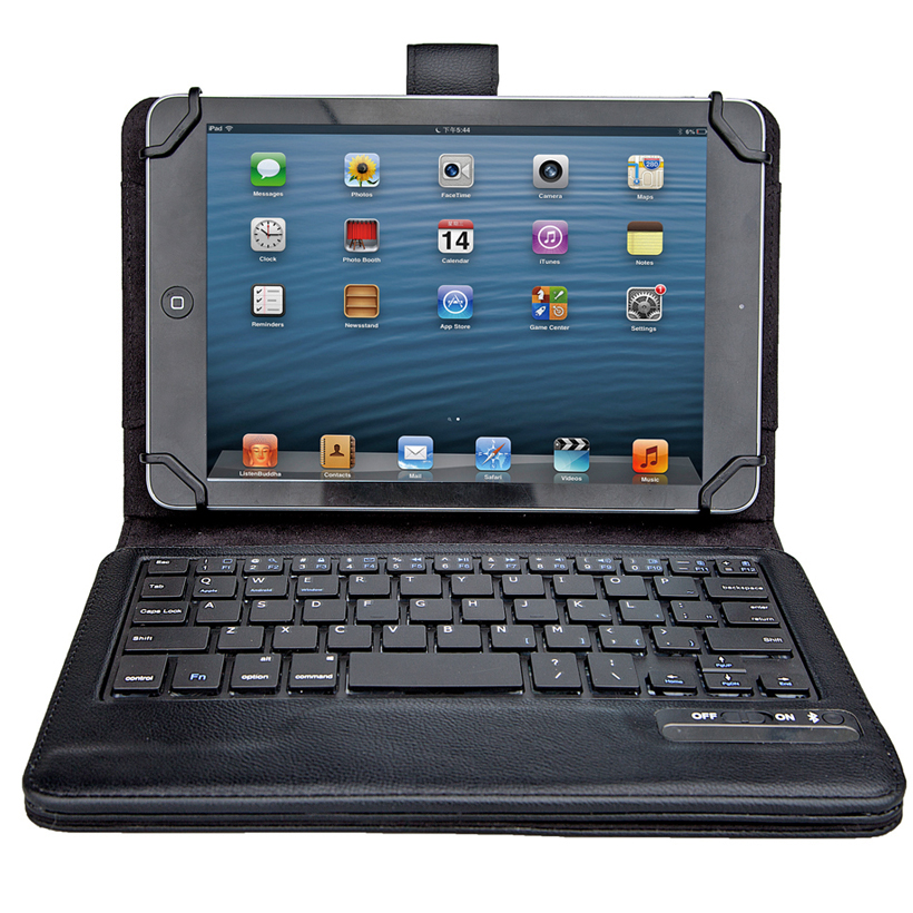 Newest Removable Wireless Bluetooth Keyboard ABS QWERTY Keys with holder leather Case cover For 7-8 Inch Tablet PC Universal<br>
