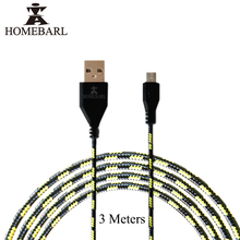HOMEBARL Micro USB Cable Long 3 Meters Braided Fabric Durable Charger Charging Sync Data 3M Cord Cables For Samsung Huawei 1B4