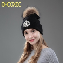 OHCOXOC New Women Beanies Real Mink Fur Pom Poms Ball Cap Keep Warm Beanies Skullies Big Shiny Rhinestone Autumn Winter Hat(China)