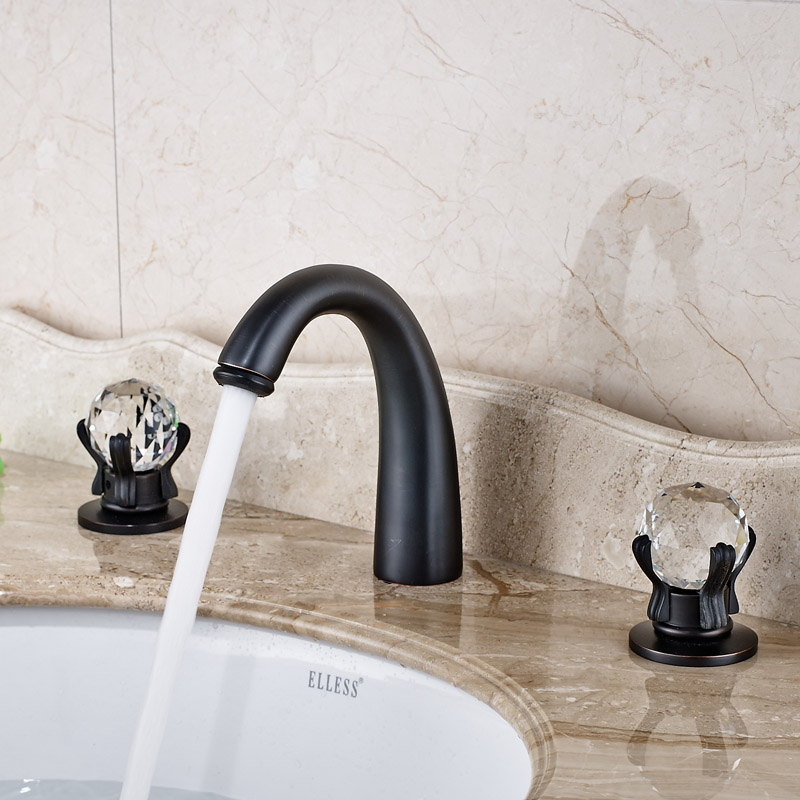 Deck Mounted Double Handle Brass Basin Faucet Tap Oil Rubbed Bronze 3 Install Holes Bathroom Mixer Taps<br><br>Aliexpress