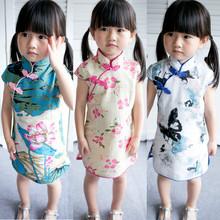 Summer style fashion children girls cotton linen printed chi-pao cheongsam kids short chinese traditional dress costume play