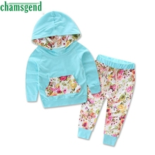 CHAMSGEND 2017 Baby Girls Clothes Tracksuit Hoodies Tops Pants Set Floral Kids Sports Costume Children's Clothing  Mar14