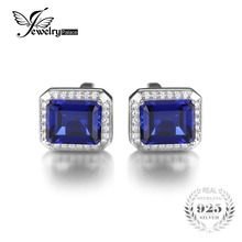 JewelryPalace Men Luxury 8.6ct Blue Created Sapphires Wedding Cufflinks Pure 925 Sterling Sliver Jewelry For Men Fine Cufflinks